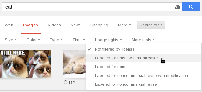 Screenshot: selecting 'Labeled for reuse with modificaiton' in Google image search