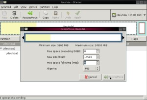 Screen shot of the gparted LiveCD in action